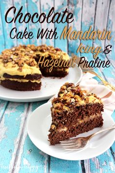 Vegan Chocolate Cake with Mandarin Icing and Hazelnut Praline. All refined sugar free and made using whole foods. Click to see how it's done!