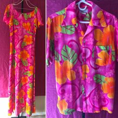 313a2e62b9a Vintage Barkcloth HAWAIIAN Luau WEDDING SET Dress Shirt TIKI MCM 60s 70s  MOD  POMARE  Hawaiian  SummerBeach