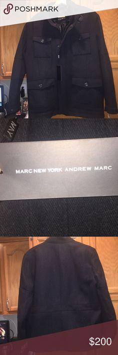 Marc New YorkAndrew Marc Men's Wool coat Brand New with tags .. GORGEOUS COAT. .. Dark Grey color.. great for jeans or for dressing Up... great Christmas gift Andrew Marc Jackets & Coats Pea Coats
