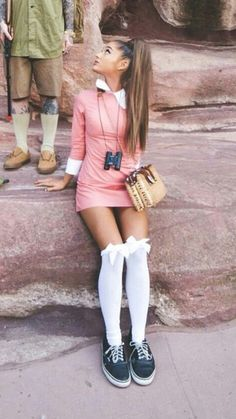 Ariana Grande. So cute! I love the choice of sneakers to go with such a girly outfit.