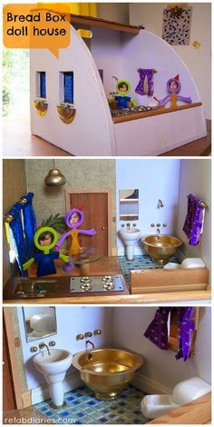 Trimming my waste: Week 33 (breadbox upcycles) Diy Dollhouse, Bookshelf Dollhouse, Upcycled Crafts, Repurposed, Dollhouse Accessories, Fairy Dolls, Baby Play, Doll Crafts, Miniature Dolls