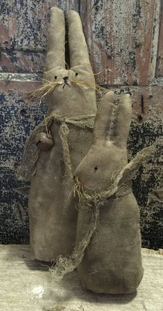 Primitive Folk Art Mamma Bunny Rabbit And Baby Spring Easter Dolls