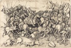 Schongauer, Martin German, c. 1450 - 1491 The Battle of Saint James at Clavijo c. 1470/1475 engraving on laid paper sheet (trimmed to plate mark): 29.5 x 43.5 cm (11 5/8 x 17 1/8 in.)