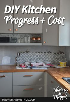 Planning a DIY kitchen renovation and want a realistic budget and timeline? Check out this post on kitchen progress & costs for the details! Kitchen Cost, Kitchen On A Budget, Updated Kitchen, Diy Kitchen, Kitchen Decor, Ikea Cabinets, Upper Cabinets, Kitchen Cabinets, How To Patch Drywall