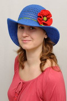Hey, I found this really awesome Etsy listing at https://www.etsy.com/listing/224060148/blue-summer-hat-classic-woman-hat-woman