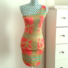 One shoulder mini dress Formal or casual dress, very fitted to body to show your curves, short dress, stretchy material, in good condition, the colors are coral, gold, mint green. WINDSOR Dresses One Shoulder
