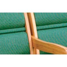 Wooden Mallet Valley Three Seat Guest Chair Wood Finish: Light Oak, Fabric: Vinyl Blue, Arms: Center Arms Not Included