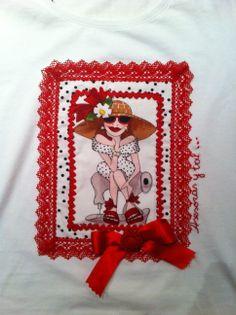 Camiseta decorada L. roja