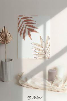 Hojas de palma de terracota decoración de la pared cartel de | Etsy Minimal Art, Cuadros Diy, Diy Canvas Art, Small Canvas Art, Painting Canvas, Kunst Poster, Home Decor Wall Art, Diy Art, Diy Wall Art