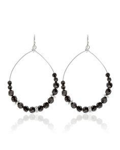 White House | Black Market Jet Silvertone Beaded Drop Hoop Earrings #whbm