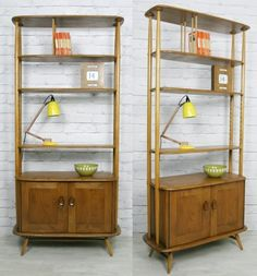 ERCOL RETRO VINTAGE MID CENTURY ROOM DIVIDER BOOKCASE SHELVES CABINET 1950s 60s