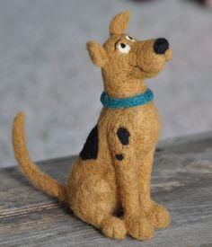 Needled felted Scooby Doo dog by Teresa Perleberg