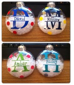 Personalized Christmas ornaments vinyl lettering