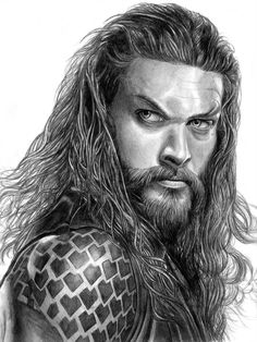 Aquaman by on DeviantArt Realistic Pencil Drawings, Pencil Art Drawings, Art Drawings Sketches, Realistic Sketch, Horse Drawings, Drawing Art, Drawing Ideas, Celebrity Drawings, Celebrity Portraits