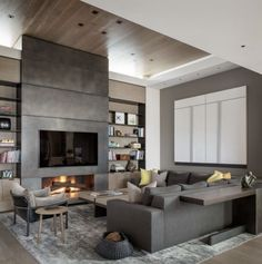 Latest Photos Contemporary Fireplace ideas Strategies Modern fireplace designs can cover a broader category compared with their contemporary counterparts. Linear Fireplace, Concrete Fireplace, Home Fireplace, Living Room With Fireplace, Fireplace Surrounds, Living Room Decor, Fireplace Ideas, Living Area, Living Rooms