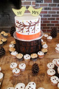Mini cupcake wedding cake with outdoors and fall colors theme.  www.Abbiesbakery.com www.facebook.com/abbiesbakery