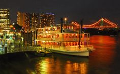 Enjoy our Kookaburra cruise on the Brisbane River with a delicious seasonal contemporary buffet includes beverages & live entertainment. Brisbane River, Brisbane Cbd, River Queen, Seafood Platter, Experience Gifts, Dance The Night Away, City Lights, High Tea, Fresh Fruit