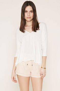 Cuffed Linen-Blend Shorts | Forever 21 - 2000187071