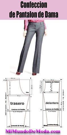 Patron de pantalon de dama o moldes para descargar gratis Sewing Pants, Sewing Clothes, Diy Clothes, Wrap Pants, Skirt Pants, Pdf Sewing Patterns, Sewing Tutorials, Camisa Floral, Pattern Drafting