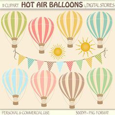 "Hot Air Balloons Clipart Digital: ""HOT AIR BALLOONS"" with bunting banner, sun clipart, for Birthday Party, Invites, Cards - Buy 2 Get 1 Free by DigitalStories on Etsy https://www.etsy.com/listing/165967078/hot-air-balloons-clipart-digital-hot-air"