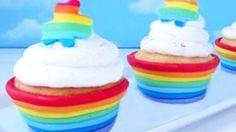 Instead of using paper cupcake wrappers, create a rainbow fondant cup for your cupcakes instead. Great for St. Patricks Day, birthdays, Earth Day, or just any day.