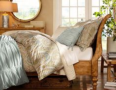 Duck egg blue, olive/sage green, taupe, ivory...Pottery Barn
