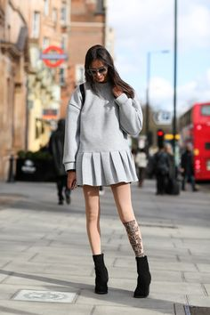 70 Style Lessons From The Streets Of London  Tights are under-appreciated. Yours should have something to say.