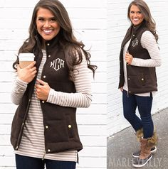 Paired over a cute tunic or sweater, this monogrammed quilted vest is a fall wardrobe staple! Complete your look with some Monogrammed Riding Boots and a Monogrammed Scarf.