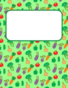 Free printable vegetable binder cover template. Download the cover in JPG or PDF format at http://bindercovers.net/download/vegetable-binder-cover/