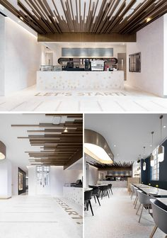 """Restaurant And Cafe Is Located Inside An Old School Building In Shanghai This modern cafe has the words """"Let's Start!"""" on the floor in front of the counter area.This modern cafe has the words """"Let's Start!"""" on the floor in front of the counter area. Restaurant Interior Design, Cafe Interior, Modern Interior Design, Interior Architecture, Apartment Interior, Studio Apartment, Café Design, Floor Design, Home Design"""