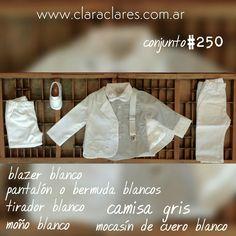 Ropa de bautismo para varón en Argentina. Zapatos de bebé nene niño. Tiradores y moño. www.claraclares.com.ar