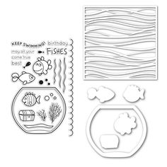 """Simon Says Stamps: Fish Bowl Dies, Wave Stencil, and """"Best Fishes"""" stamp set (photopolymer?)"""