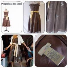 """Anthropologie """"Peppermint Tea"""" dress by Odille size 6 brown cotton strapless"""