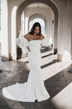 This minimal stunner will take your breath away. Hazel is made from a luxurious French crepe and hugs all the right places to make you feel like the sexiest girl in the room. Hugs, Big Day, Minimal, That Look, French, Bridal, Luxury, Wedding Dresses, Places