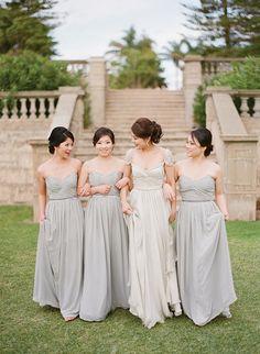 Pale gray/grey bridesmaid dresses. The Wedding Scoop Spotlight: 8 Bridesmaid Dress Trends We Love #bridesmaid #bridesmaids