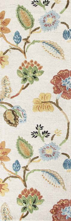 Jaipur Rugs Transitional Floral Pattern Ivory/Multi Wool and Art Silk Area Rug BL33 (Runner)