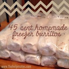 Freezer Breakfast Burritos $0.45 each! You could use refried beans instead of cream cheese, and lean ground beef or chicken instead of sausage.