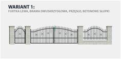 Ogrodzenie klasyczne Tola 2 w wariancie z bramą dwuskrzydłową i betonowymi słupkami.