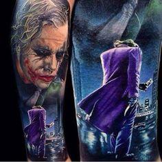 Beautiful 'Batman' The Joker tattoo Batman Joker Tattoo, Joker Art, Clown Tattoo, 4 Tattoo, Dark Tattoo, Harley Quinn Tattoo, Joker And Harley Quinn, Dope Tattoos, Body Art Tattoos