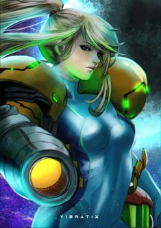 """vibratix: """"Samus Aran Finally finished this one! Samus giving me all sorts of issues. Obligatory reminder that I'll be vending at Naka Kon in a couple weeks so if you're in the Kansas City area check it out! I'll be selling this as well as many of my. Metroid Samus, Metroid Prime, Viewtiful Joe, Zero Suit Samus, Super Metroid, Cute Anime Coupes, Arte Cyberpunk, Video Game Art, Video Games"""