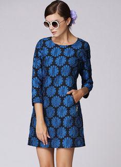 Blue Long Sleeve Sunflower Pattern Dress