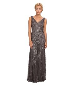 Adrianna Papell Long V-Neck Beaded Gown Gunmetal - 6pm.com It's super glam but would look amazing!