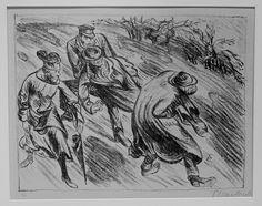 """Ernst Barlach (German, 1870-1938). """"Der arme Vetter"""" - Nach dem Schluss / After the gunshot. Original lithograph, 1919."""