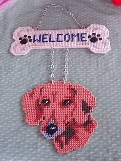 Plastic Canvas Dachshund Welcome Sign!