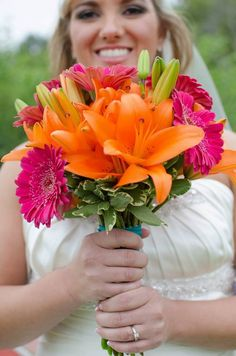 Wedding bouquet, lilies and gerbera daisies