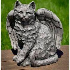 Campania International Angel Kitty Garden Statue - A-490 - AGED LIMESTONE