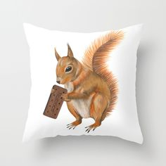 Super Squirrel Throw Pillow - $20.00 http://society6.com/madiillustration/Super-squirrel_Pillow