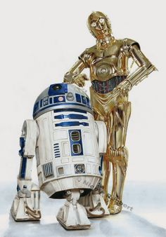 R2D2 and C3PO (drawing) by Quelchii on DeviantArt