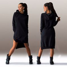 Cotton O-neck Long Sleeve Hooded Women's Dress