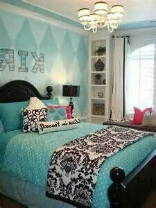 Black white and aqua blue teens room